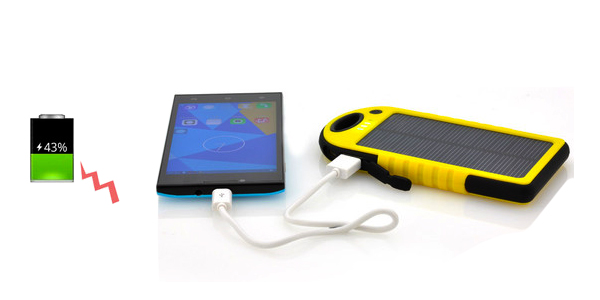 Yellow Solar Phone Charger with Phone and Battery Sign