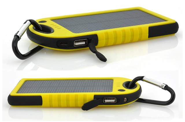 Yellow Solar Phone Charger Angles